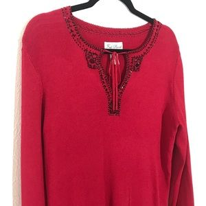 Fred David Womens Sweater L Red Black Embellished